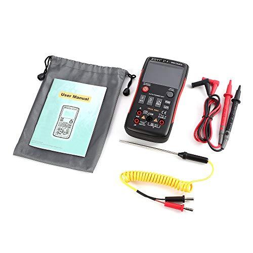 ZT-X Multímetro digital Rango automático Verdadero RMS CA/CC Voltio Amp Ohm Capacitancia Ciclo de trabajo Diodo NCV Probador de temperatura 9999 cuentas - Negro y rojo