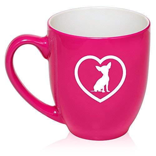 16Oz Hot Pink Große Tasse Bistro Keramik Kaffee Tee Glas Tasse Chihuahua Herz (Tee Pink Herz Hot)