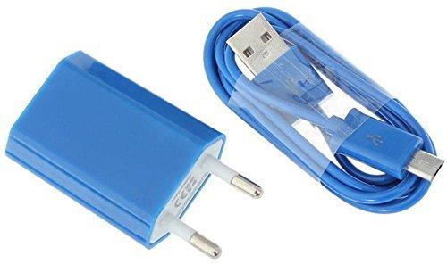 Reido Universal Micro-USB Ladegerät & Datenkabel für alle gängigen Samsung Modelle in BLAU (z.B. Galaxy S5, Galaxy S6, Galaxy S7) | USB-Kabel | USB-Adapter Set | Ladekabel inkl. Netzteil (2in1 Adapter+Kabel Blau)