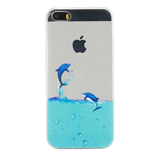 iPhone 5S Hülle, iPhone SE Hülle, Gift_Source [ Schwarze Katze ] Hülle Case Transparent Weiche Silikon Schutzhülle Handyhülle Schutzhülle Durchsichtig TPU Crystal Clear Case Backcover Bumper Case für  E1-Delphin
