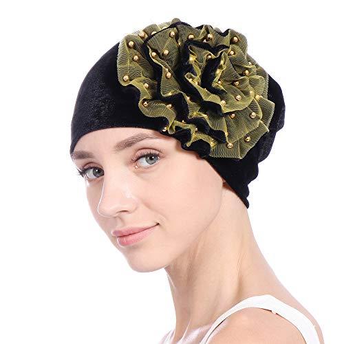 BHYDRY MüTze Damen Samt Moslemischer Schal Turban RüSch Krebs Chemo MüTze Indien Hut Wrap Kappe ()