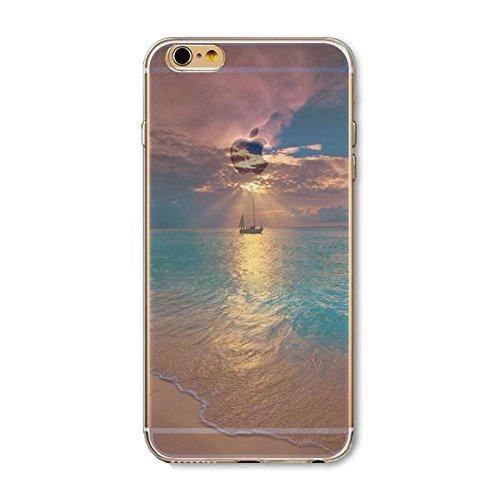 Coque iPhone 5 5s SE Housse étui-Case Transparent Liquid Crystal en TPU Silicone Clair,Protection Ultra Mince Premium,Coque Prime pour iPhone 5 5s-Paysage-style 2 4