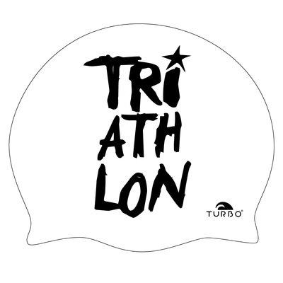 TURBO Badekappe TRIATHLON weiß schwarze Schrift aus Silikon
