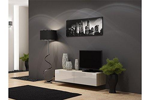 Meuble TV Design Suspendu Vito 140cm - Bois et Blanc