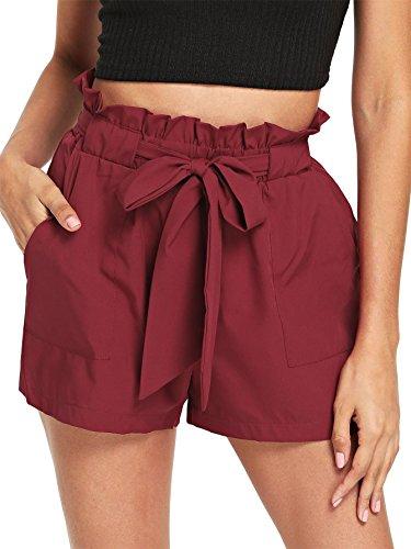 DIDK Damen Shorts mit Schleife Elastische Taille Sommer Shorts Dunkel Rot L