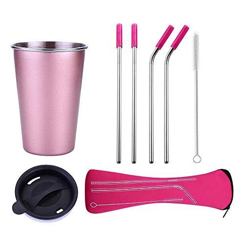 Tasses en acier inoxydable avec couvercles, pailles en acier inoxydable et brosse de nettoyage. Gobelets en métal avec pailles réutilisables pour boissons chaudes et froides.