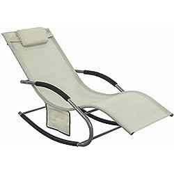 SoBuy® OGS28-MI Swingliege, Schaukelliege Sonnenliege Liegestuhl Gartenliege mit Tasche Gewebe in beige