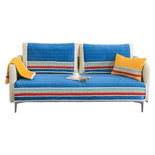 Gesteppter Plüsch Sofa Abdeckung Dick Anti-rutsch Sofabezug Pad Weiche Möbel Protector Waschbar Anti-mite Anti-Falten (Verkauft in stück)-Blau 1pc-90x160cm -