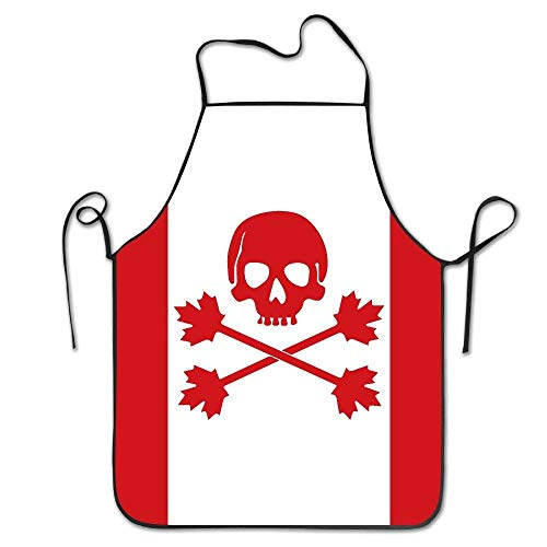 Jieaiuoo Canada Flag Pirate Skull Kitchen Cooking Apron Unisex Funny Chef Aprons