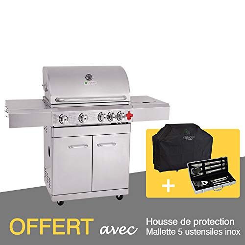 GREADEN- BBQ Grill Barbecue À Gaz INOX PHÉNIX - 4...