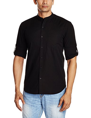Highlander Men's Casual Shirt (13110001456063_HLSH008841_Small_Black)  available at amazon for Rs.399