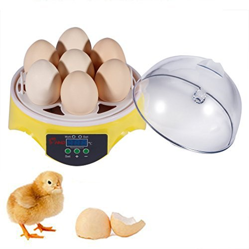 Egg Incubator, Chicken Duck Goose Birds Egg Hatcher, Digital Home Mini Hatching 7 Egg Capacity Incubator Yellow and Clear Test
