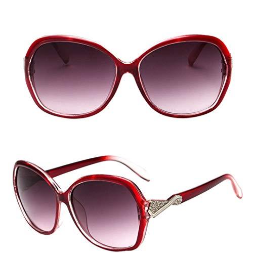 DAIYSNAFDN Großer Rahmen Vintage Sonnenbrille Frauen Brille Lady Retro Metal Sun Glasses Red
