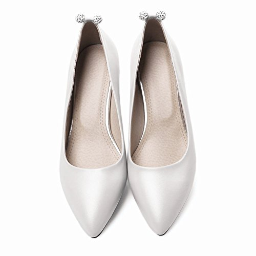 Mee Shoes Damen elegant high heels mit Strass Pumps Weiß