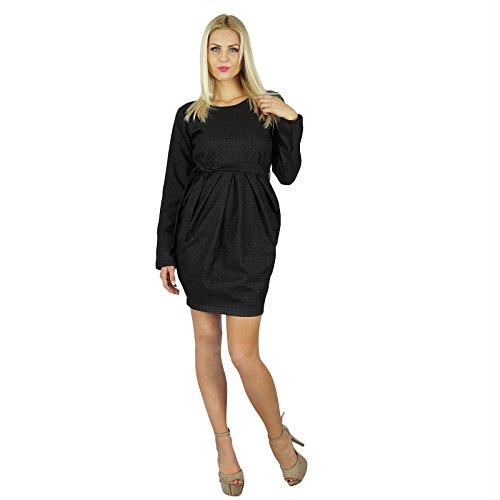 Bimba Femmes court laine Tissu Robe plissée complet Manches Fomal Vêtements Noir