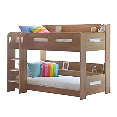 Sky Bunk Bed in Oak - Chunky Steps for Safe Climbing - Extra Storage - Ladder Can Be Fitted Either Side!