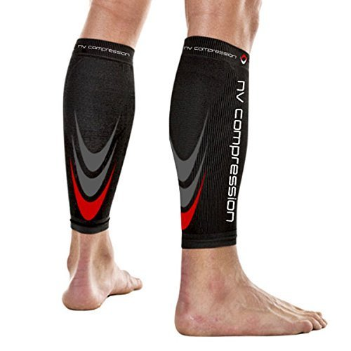 NV Compression 365 fasce di compressione per polpacci - Nero - Calf Guards/Sleeve Socks (PAIR) 20-30mmHg - For Sports Recovery, Work, Flight - Running, Cycling, Soccer, Rugby, Fitness, Gym, Golf, Tennis, Triathlon (Nero/Rosso, Small)