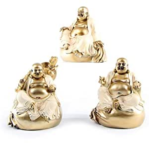 Cream & Gold Chinese Buddha on Sack, 3 Ass