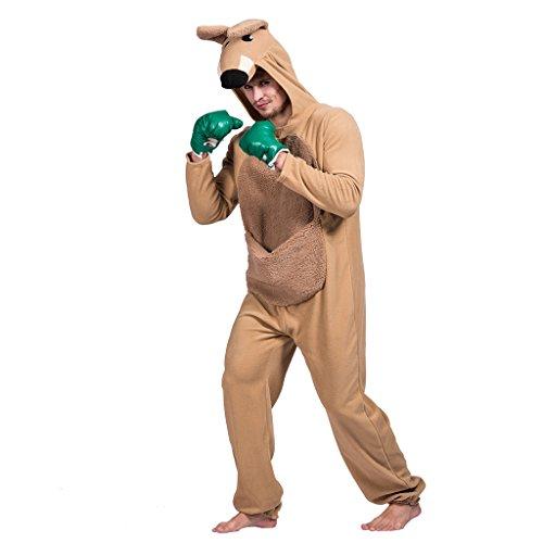 EraSpooky Unisex Känguru Kostüm Faschingskostüme Einteiler Halloween Party Karneval Fastnacht Tierkostüm für Erwachsene Herren Damen