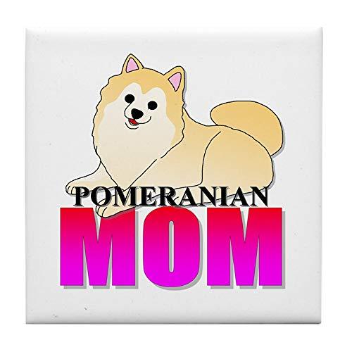 CafePress Untersetzer für Fliesen, Pomeranian Mom, klein, cremefarben -