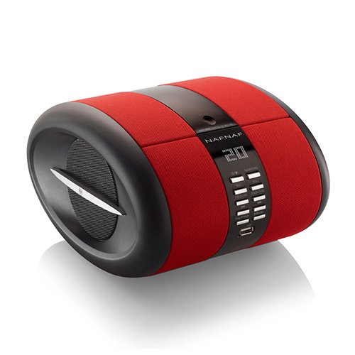 NAFNAF SENSE tragbares Uhrenradio mit Weckfunktion CD/USB/MP3/Bluetooth, rot