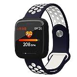 FUYY Orologi Corsa,Inseguitore di Monitoraggio della Frequenza Cardiaca Intelligente Tracker di attività Bracciale con Monitor di Sonno per Telefoni Android iOS,BlueWhite
