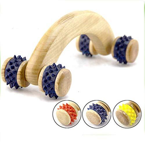 Rodillo masaje madera 4 ruedas masajeador hogar, rodillo
