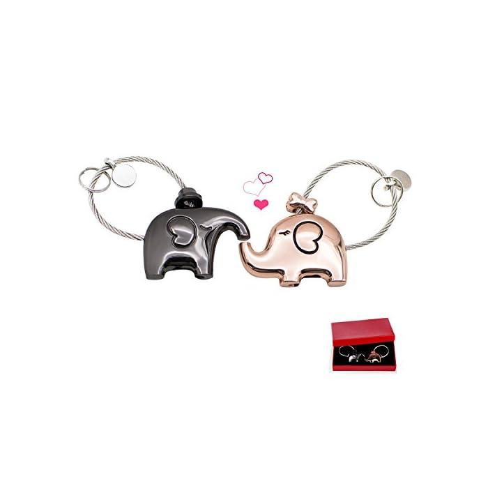 EAECOM Schlüsselanhänger 1 Paar Küssender Elefant Schlüsselring partneranhänger Valentinsgruß Geschenk Zink Legierungs…