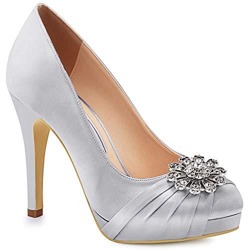 Duosheng & Elegant EP2015-PF Plataforma de Mujer Tacones Altos Zapatos de salón Punta Cerrada Piedras...