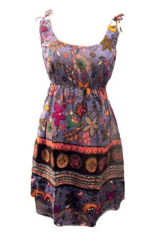 Fair Trade 100% Baumwolle Bunte Short Hattie Kleid - lila - Größe 38 (Shorts Cotton Pleated)