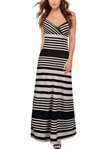 Frauen Sommer V-Ausschnitt Gestreift Ausschnitt Backless Sexy Long Maxi Kleid (Hobo Boden)