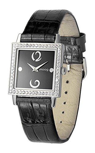Moog Paris Twisted Montre Femme avec Cadran Noir, Eléments Swarovski, Bracelet Noir en Cuir Véritable - M45602-001