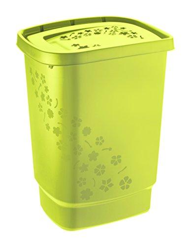 Rotho 1756005070 Wäschesammler Flowers aus Kunststoff/Plastik, Moderner Wäschekorb Plastik Grün 44.7x34.7x60.5 cm
