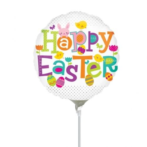 Anagram Happy Easter Dots Mini-Folie Ballons auf Sticks (3Stück)
