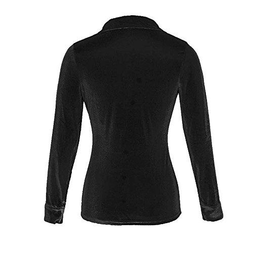 Bonboho Donna Camicetta in Velluto Camicia Elegante Maniche Lunghe Con Bottoni T-Shirt S M L XL Nero