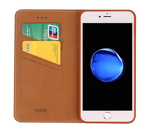 "Gukas Luxe Housse Coque PU Leather Cuir Etui Case Cover Fermeture Magnétique Flip Stand Protection Cartes Fentes Pour Apple (iphone 7 Plus 5.5"",Or) Brun"
