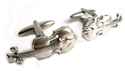 Manschettenknöpfe Geige Violine Streichinstrument silbern matt-glänzend inkl. Geschenkbox