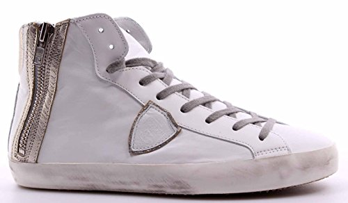 Scarpe Top Sneakers Uomo PHILIPPE MODEL Paris Bike High Veau White Platinum ITA
