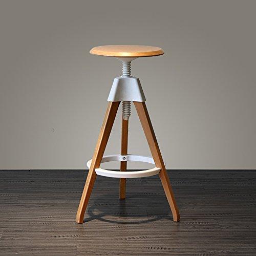 Chaises de barre avant modernes, tabouret haut en bois solide, taille de siège 68-76cm (Couleur : Blanc)