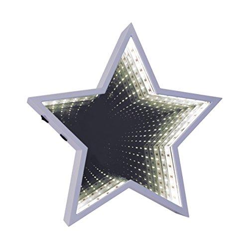 Global Gizmos 29cm 60LED Star geformte Infinity Spiegel Licht, Kunststoff, weiß