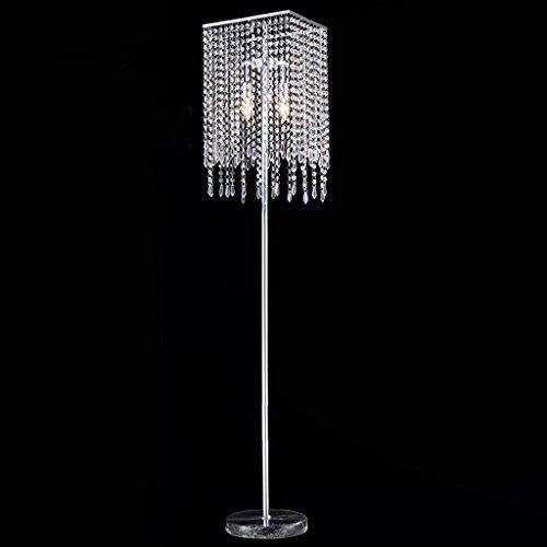 Glas 3-licht-arc (Moderne minimalistische Luxus Kristall Wohnzimmer vertikale Edelstahl Stehleuchte Mode geometrische Metall Esszimmer Marmor Kunst Stehleuchte, E14 * 2-3 (Chrom Farbe + transparent))