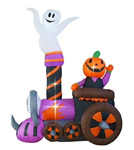 Halloween-Zug-Dekoration mit Geisterkürbis-Deko, aufblasbare Gegenstände für Zuhause, Hof, Rasen, Garten, Party, drinnen und draußen. ()