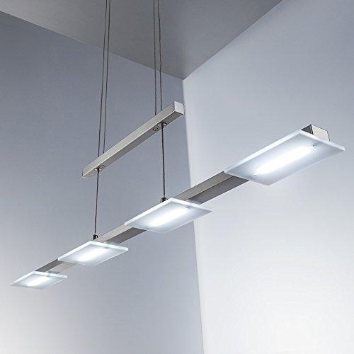Lampadario led a sospensione i lampada da soffitto per l'illuminazione da interno i luce bianca calda i corpo metallo, nickel opaco i incl. 4 piastre led 4 w i 230 v i ip20