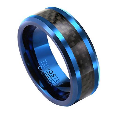 PiercingJ Herren Wolframcarbid Wolfram Ring mit schwarz Carbon Fiber Tungsten Ring Ehering Hochzeitsring Wedding Band Ring 8mm, blau, Gr.57-67(US9 = 60 (19.1mm)) - Ehering 8mm