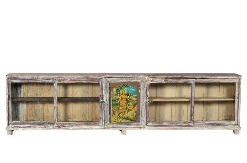 Indien 1910 300cm Ladentheke Glasvitrine Kredenz 3m lang shabby chic Gujarat - Massivholz-kredenz