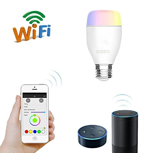 Smart Wifi Led Bulb, ICOCO Smart Wifi Bulb E27 Smartphone Controlled Multicolored Color Changing Lights Dimmable Night Light 6Watts Equivalent Timing RGB WiFi Smart LED Light Bulb 16 Million Color Display for Holiday Bulbs/Party/KTV Lamp/Home Use/Bar/Wedding for iOS and Android Phones