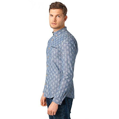 Tom Tailor Denim für Männer Shirt / Blouse Button-Down Hemd mit Muster dark duck blue