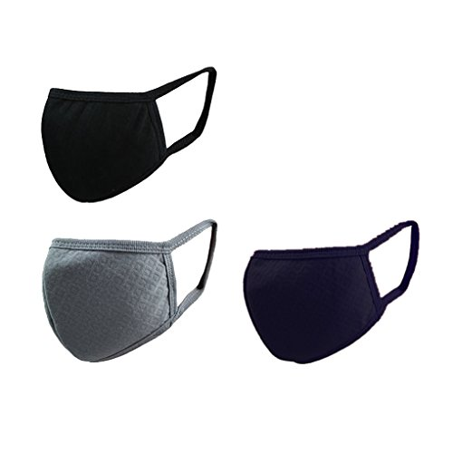 BXT 3 Pcs Staubdicht Mundmasken Mundschutz Gesichtsmaske Baumwolle Aktivkohle mit 3D Prägung für Damen und Herren One Size