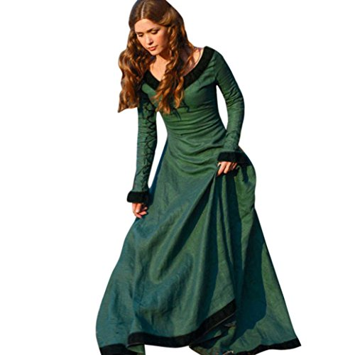Kleid damen Kolylong® Frauen Elegant Spitze Kleid Lange Herbst Winter Vintege Langarm Kleid Cocktail Party Kleid Abendkleid Cosplay Kostüm (XL, Grün)