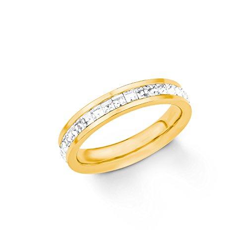 s.Oliver Damen-Ring Swarovski Kristall, Edelstahl teilvergoldet, weiß Gr. 56 (17.8), 2018556